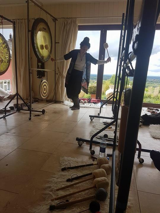 Working with the Gongs at Deep Bliss Day Retreat in Blissland