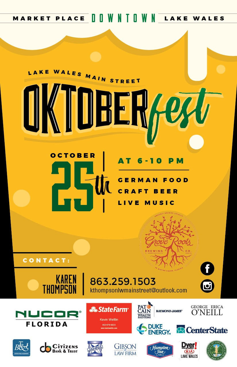 Join us - Celebrate Oktoberfest without leaving Lake Wales. This Oktoberfest celebration in downtown Lake Wales features authentic bratwurst and sauerkraut; sip craft beers from Grove Roots and listen to entertainment by local bands. Enjoy family-friendly entertainment with LIVE MUSIC, dancing in the streets and a night Farmers Market.FREE COMMUNITY EVENTOctober 25, 20196 - 10 PM