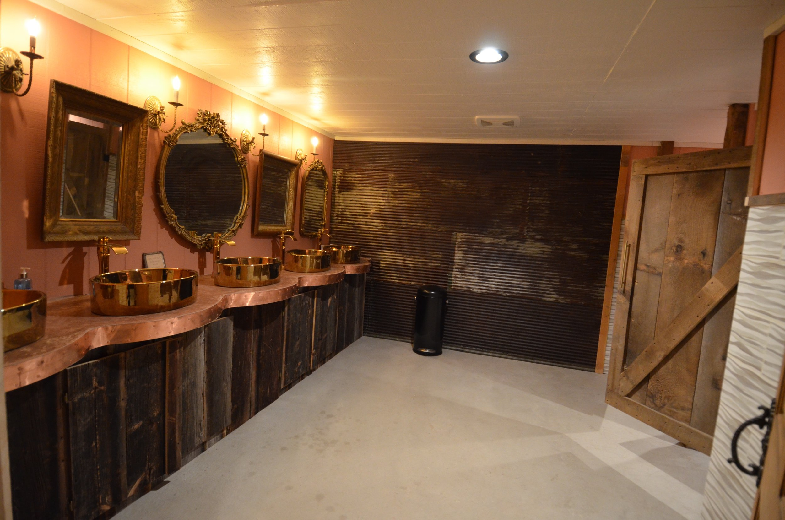 Rustic but elegant bathrooms in our barn