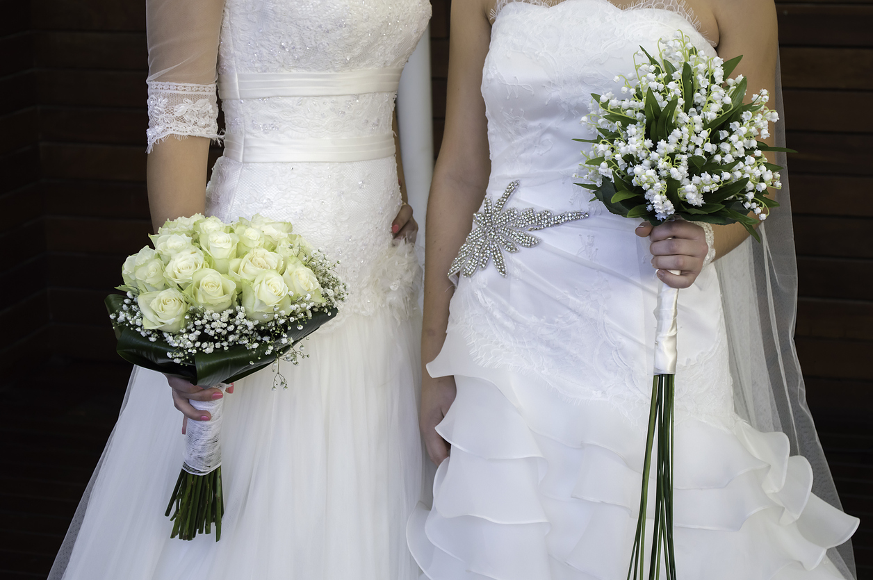 Bride and bride, with their beautiful wedding dresses