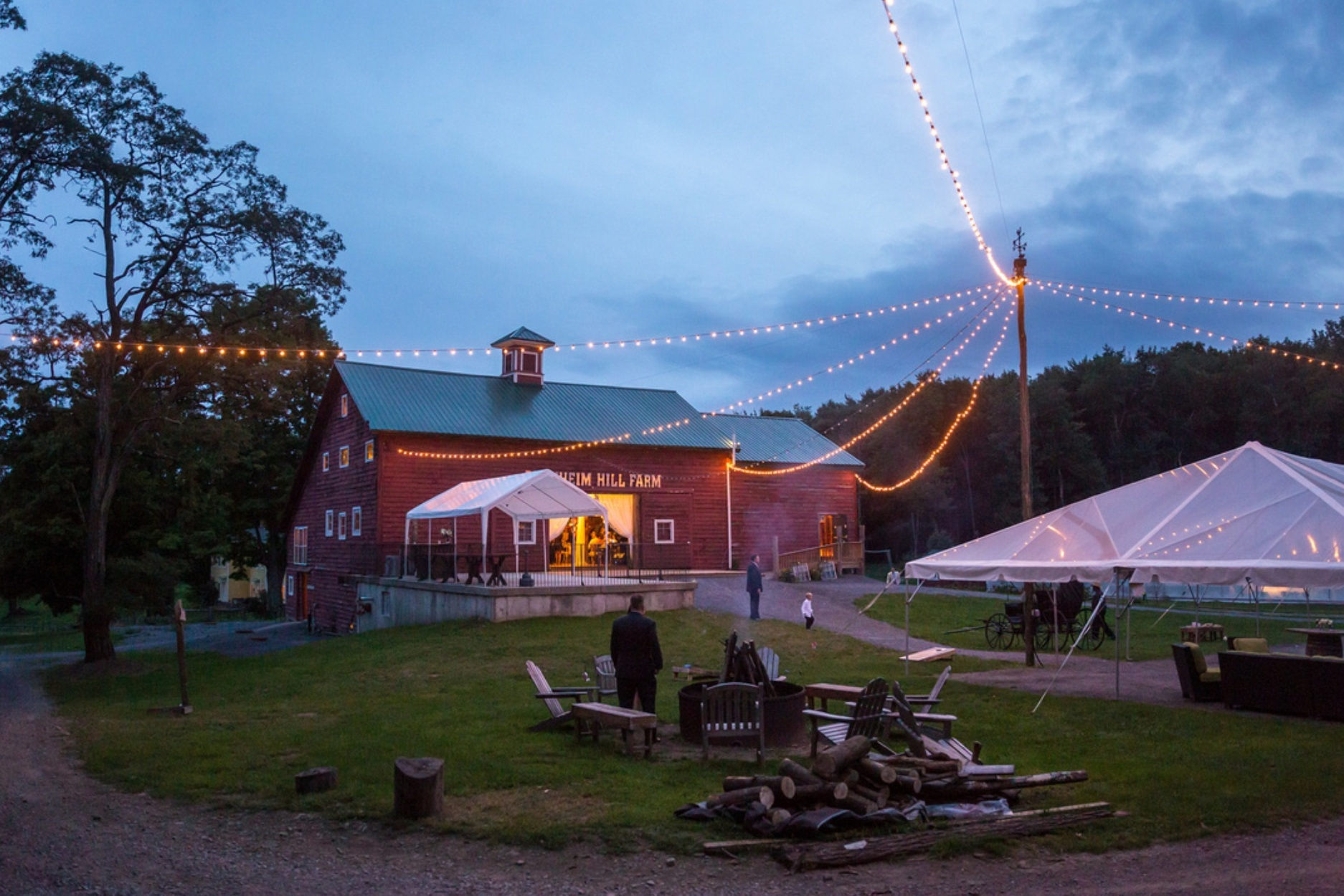 Cocktail Hour Tent, Bonfire Circle and Barn ready for the party