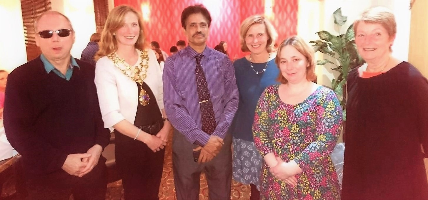 L-R:  Councillor Terry Christopher, Councillor Felicity Cotton (Monmouth Town Mayor), Mr Asm Miah, Councillor Claudia Blair, Councillor Alice Legg, Councillor Anthea Dewhurst