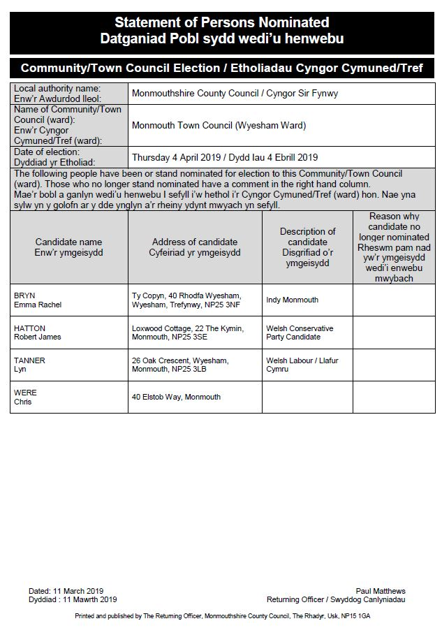 Statement of Persons Nominated - Monmouth Town Council Wyesham Ward (002).JPG