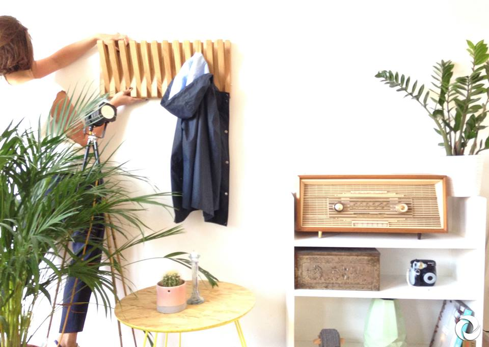 sustainable wood coat rack