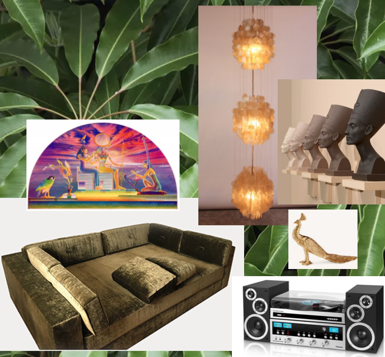 India Mahdavi   sofa , Houseplants and other  greenery ,  Nefertiti , Vintage style  turntable/stereo , brass  peacock , Capiz Shell  Lamp , Thomas Akawie  Poster