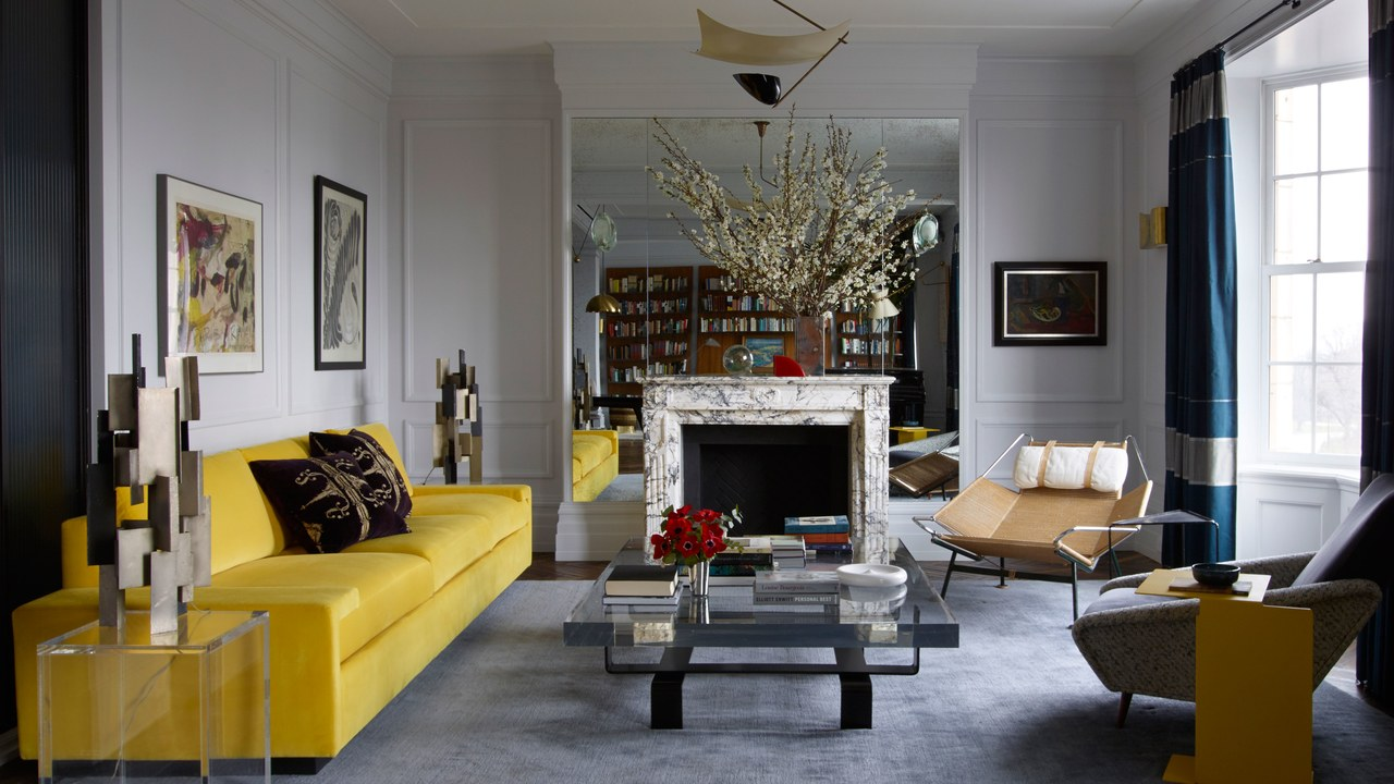 ARCHITECTURAL DIGEST  / 2017 / Upper West Side Residence for Fawn Galli / Floating vanity base, steel & lucite coffee table