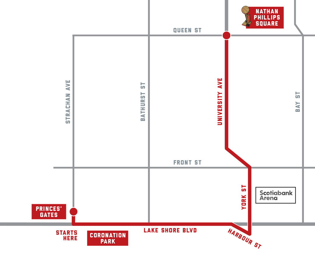 The parade route from the Raptors  website.