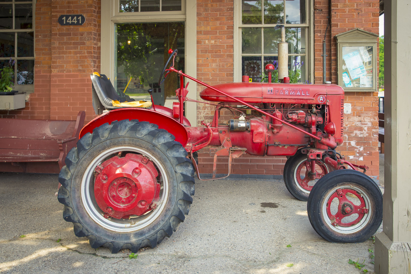 Old Tractor in front of Pioneer Roller Flouring Mills