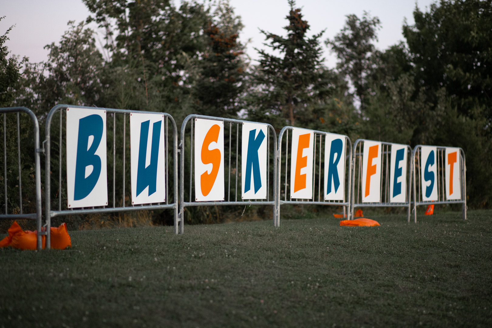 Close-up Of The Buskerfest Sign