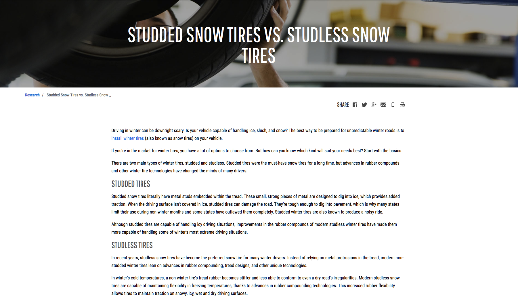 Studded versus Studless Tires
