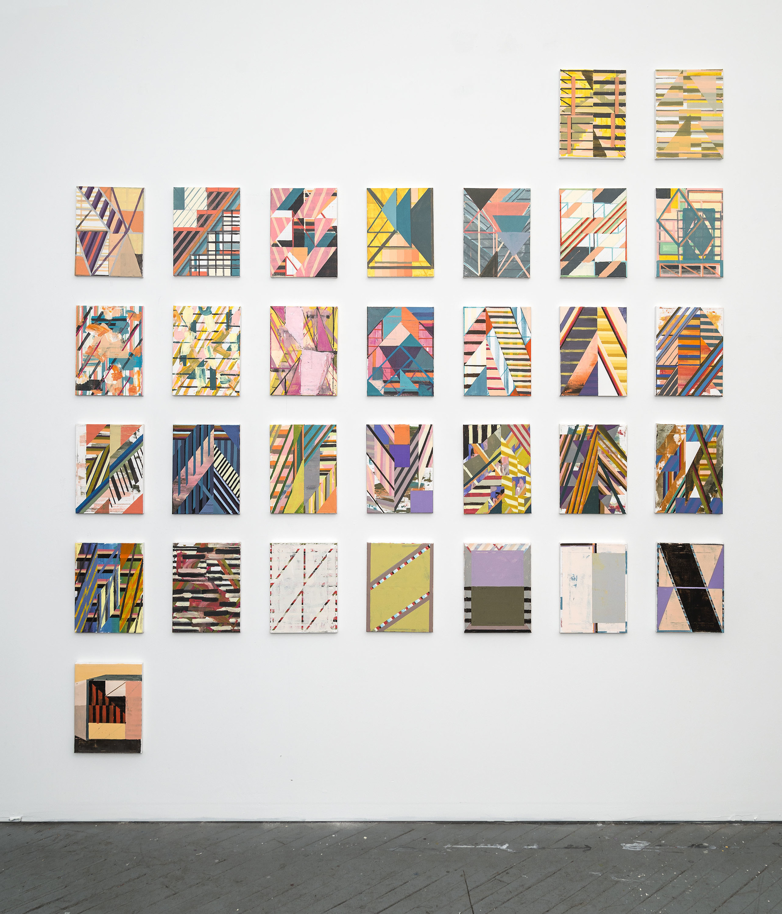 Yearbook (January), 2016,Acrylic and colored pencil on 31 canvases,12 x 9 inches each