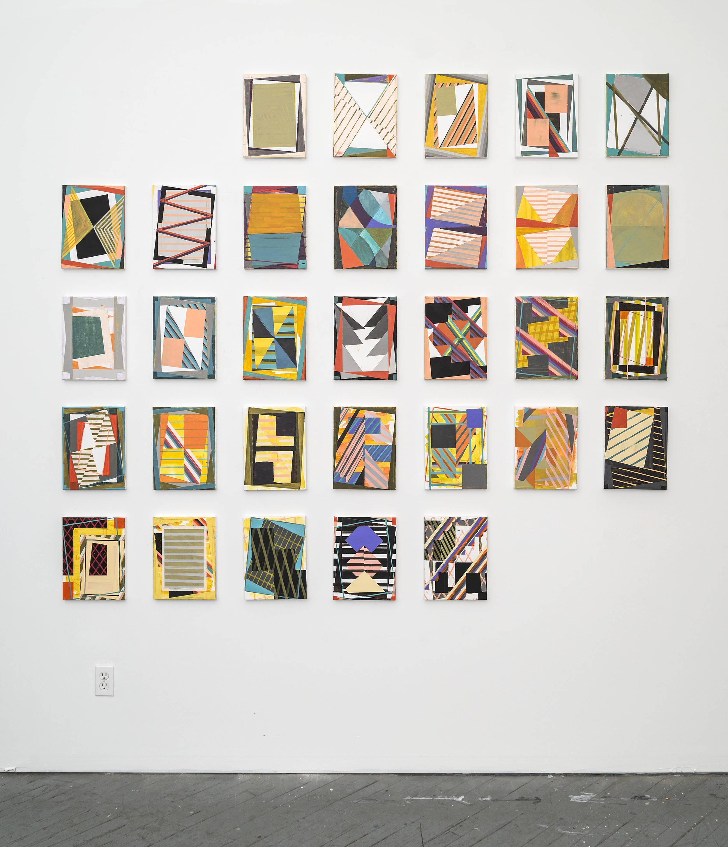 Yearbook (March), 2016,Acrylic and colored pencil on 31 canvases,12 x 9 inches each