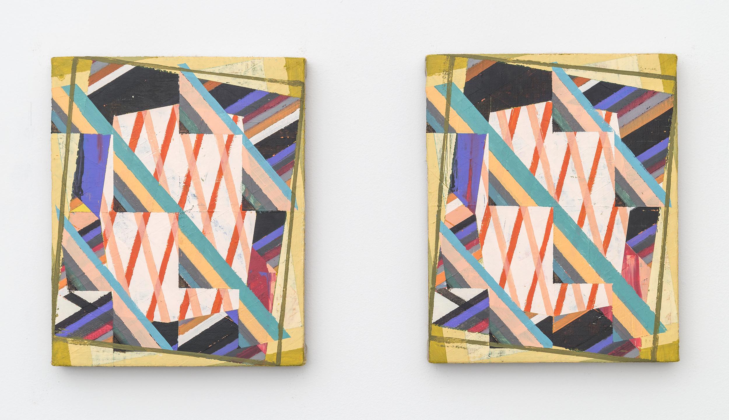 Two Left Feet and Vertigo (Diptych), 2016,Acrylic + colored pencil on linen over panels,10 x 8 inches each