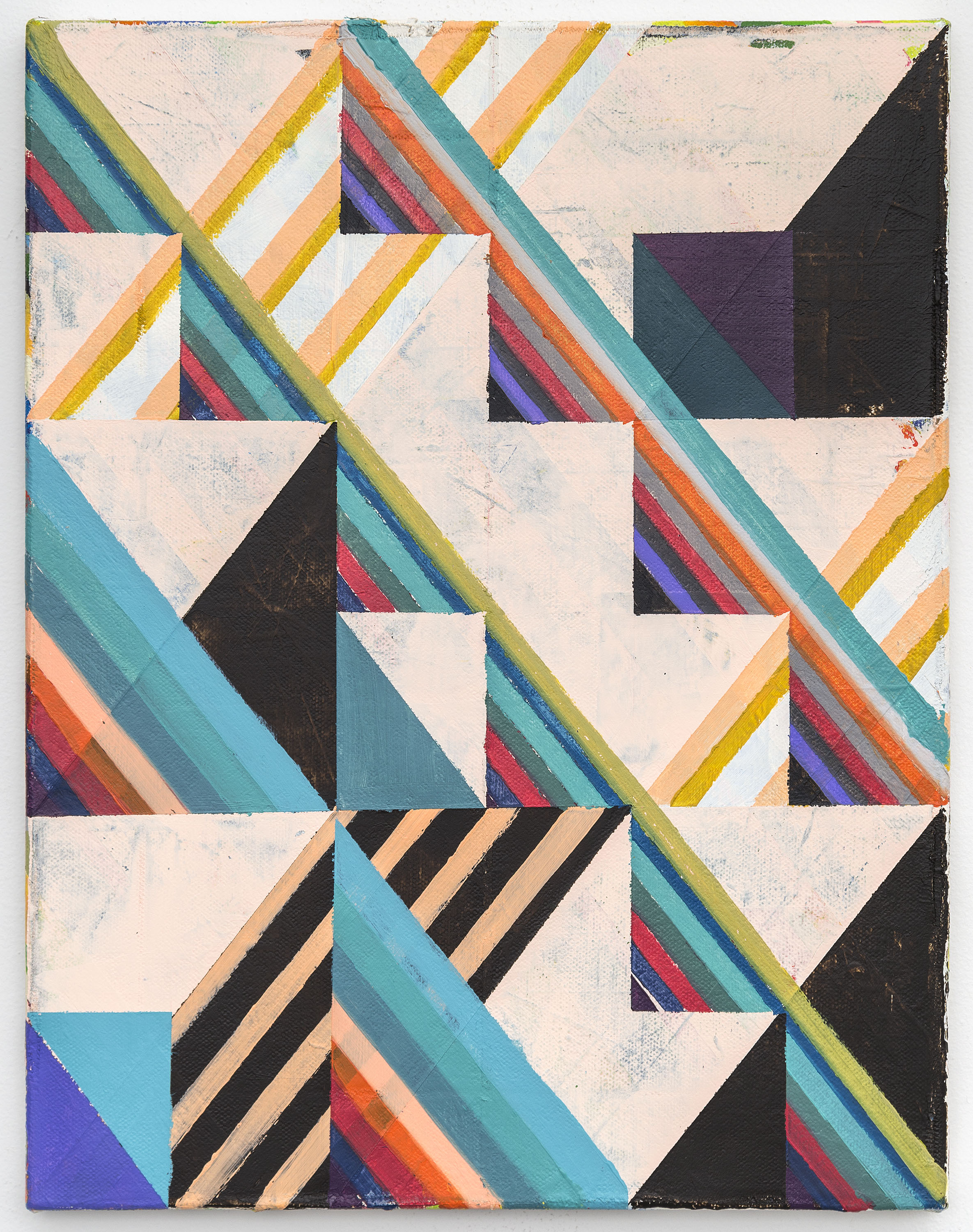 Stacks, 2016, Acrylic and colored pencil on canvas, 36x28cm