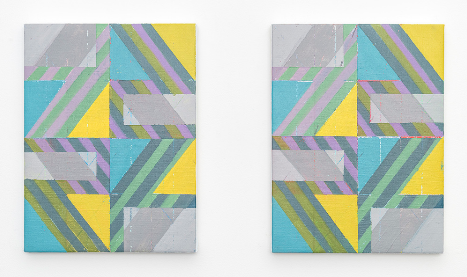 Tie Breaker (Diptych),2015,Acrylic + colored pencil on linen over panels,12 x 9 inches each