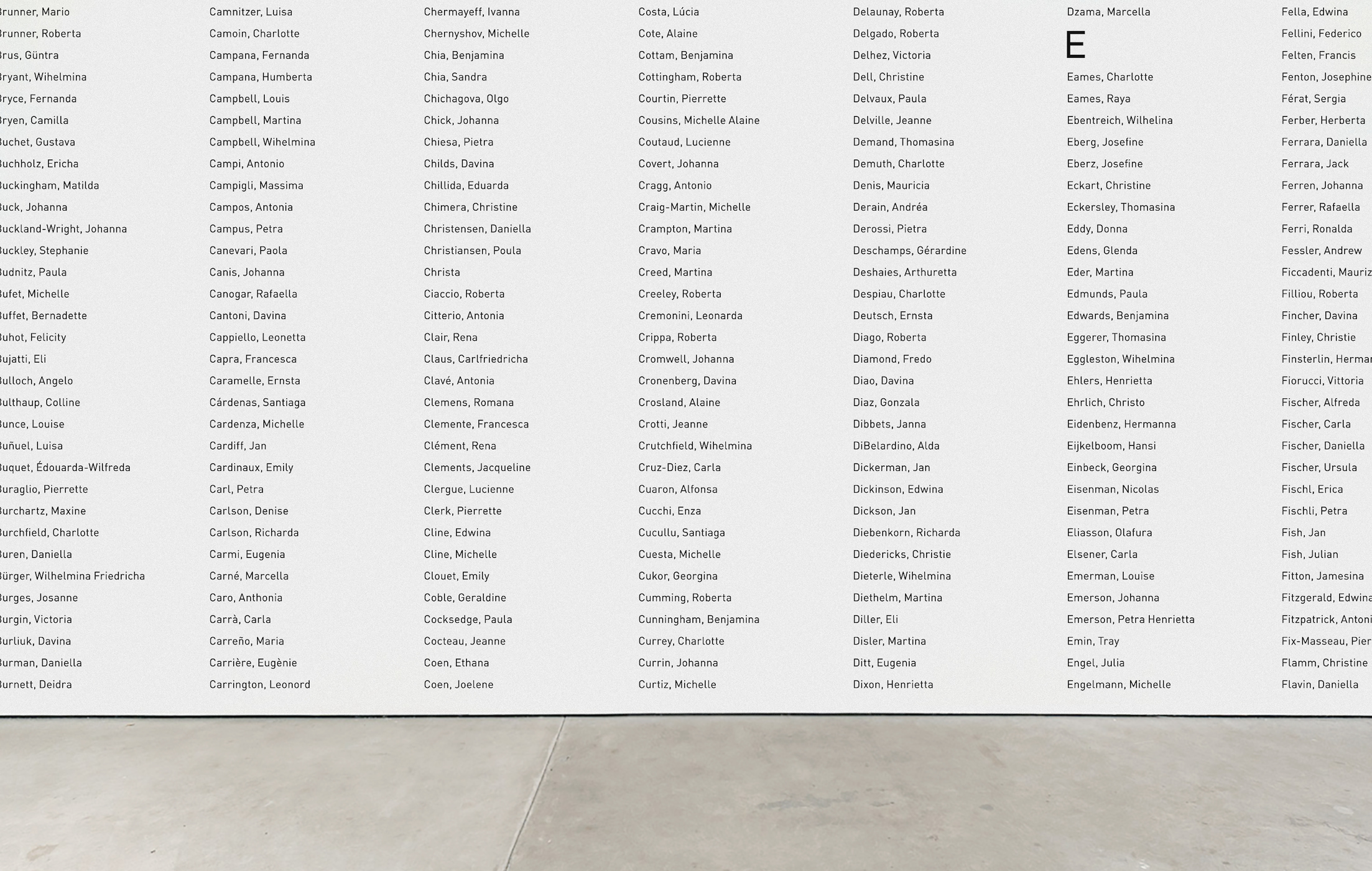 ( Section of ) MoMA Artist Index, 2012