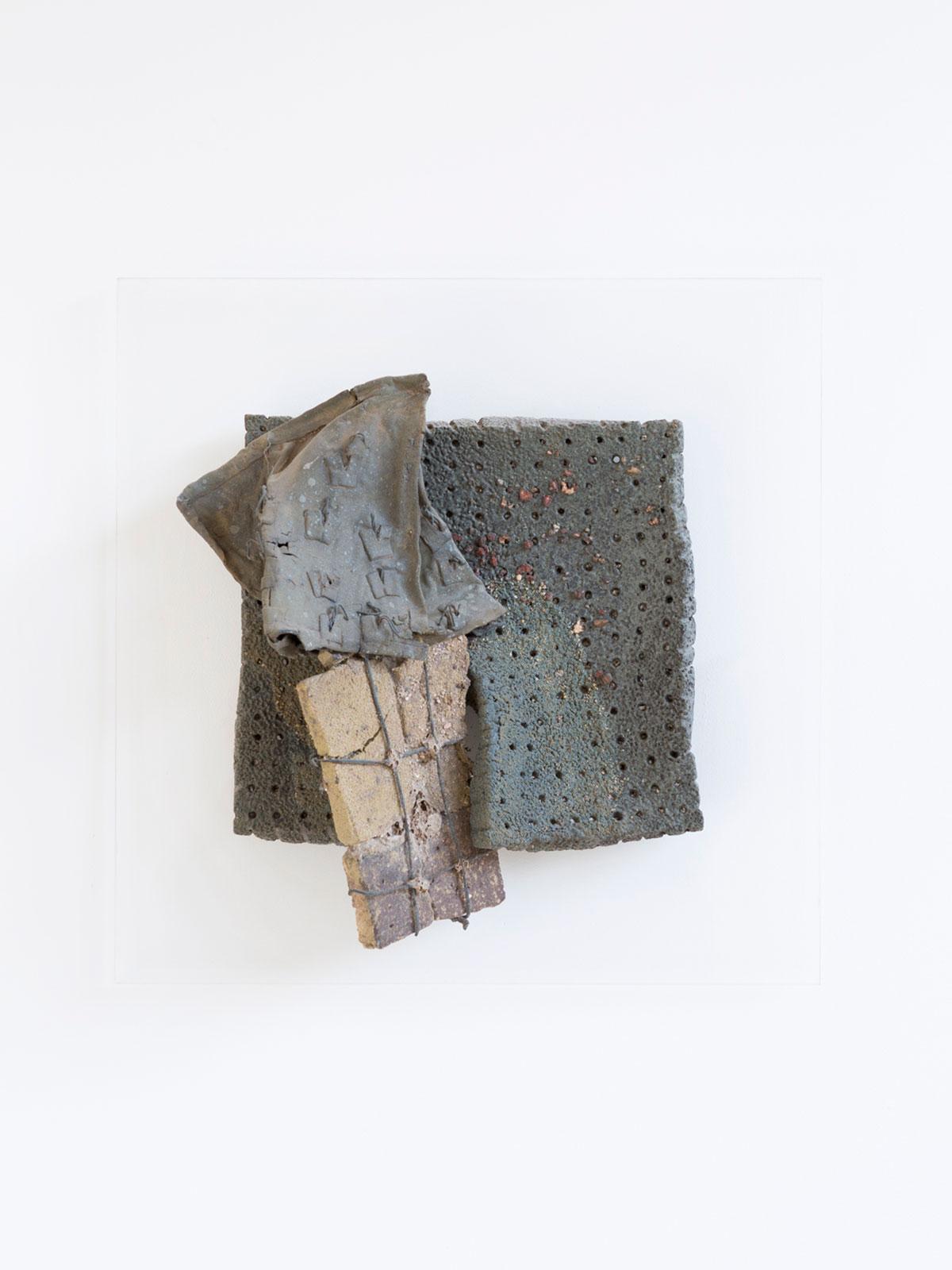 11.-Wall-mounted-Brick-Bag1981-Melted-brick-in-fibreglass-bag-ceramic-wire-46-x-46-x-14-cm - Copy.jpg