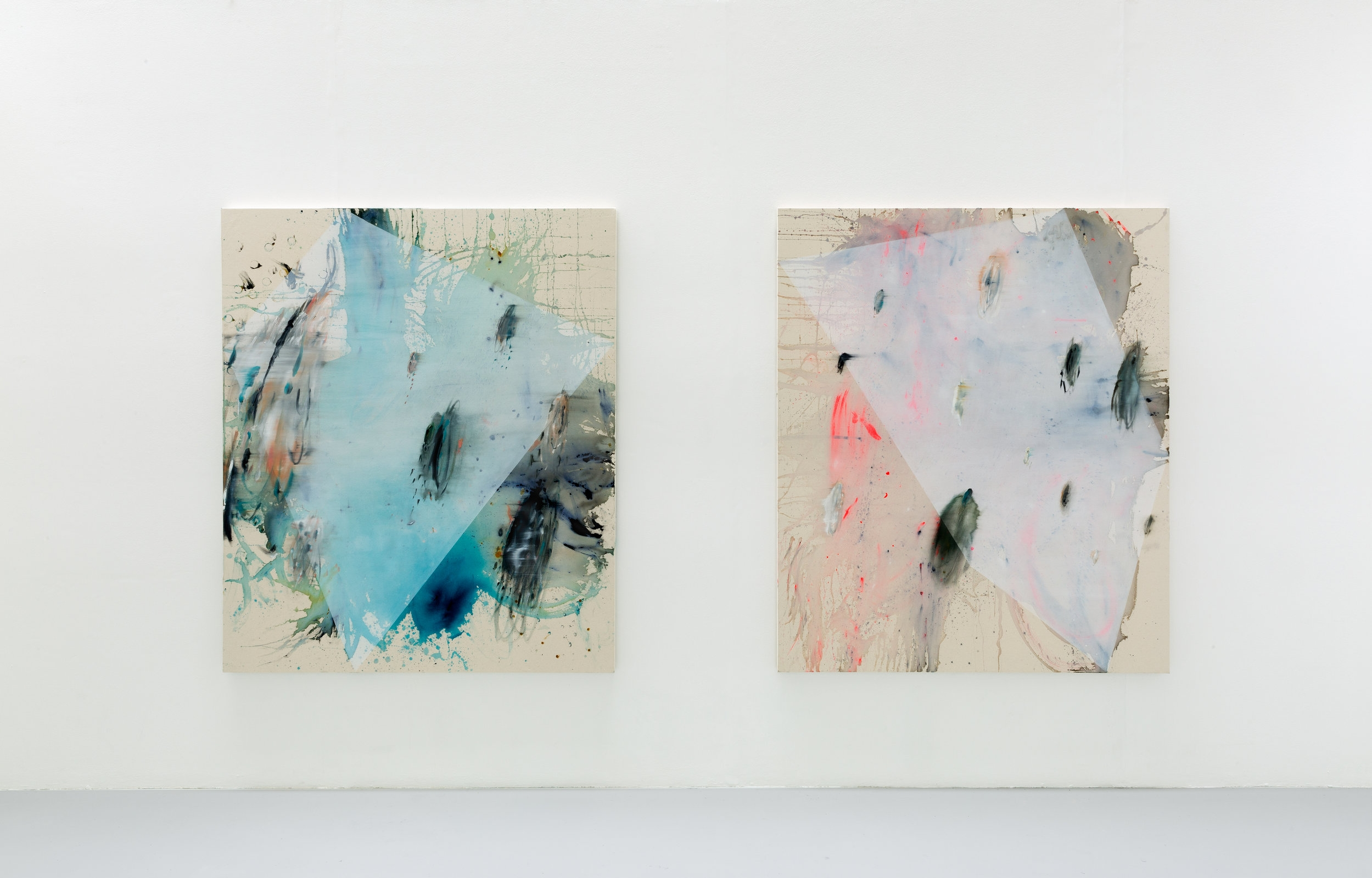left to right s.s.h., 2015; y.s.b. 2015,Install shot Goldsmiths Fine Art MFA Degree Show, 2016