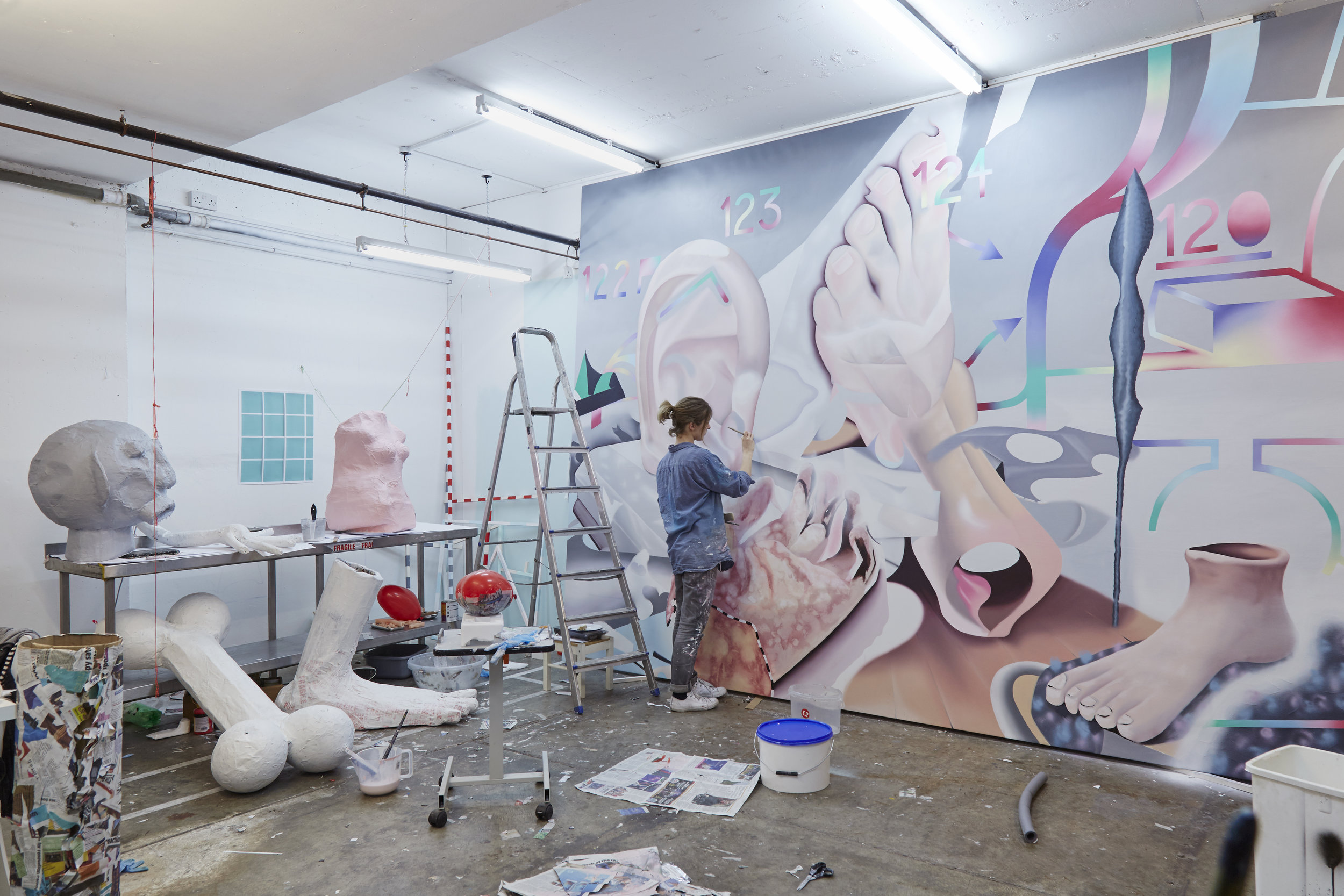 Jane Hayes Greenwood working in her studio at Block 336 in preparation for the 2016 XL Catlin Prize.