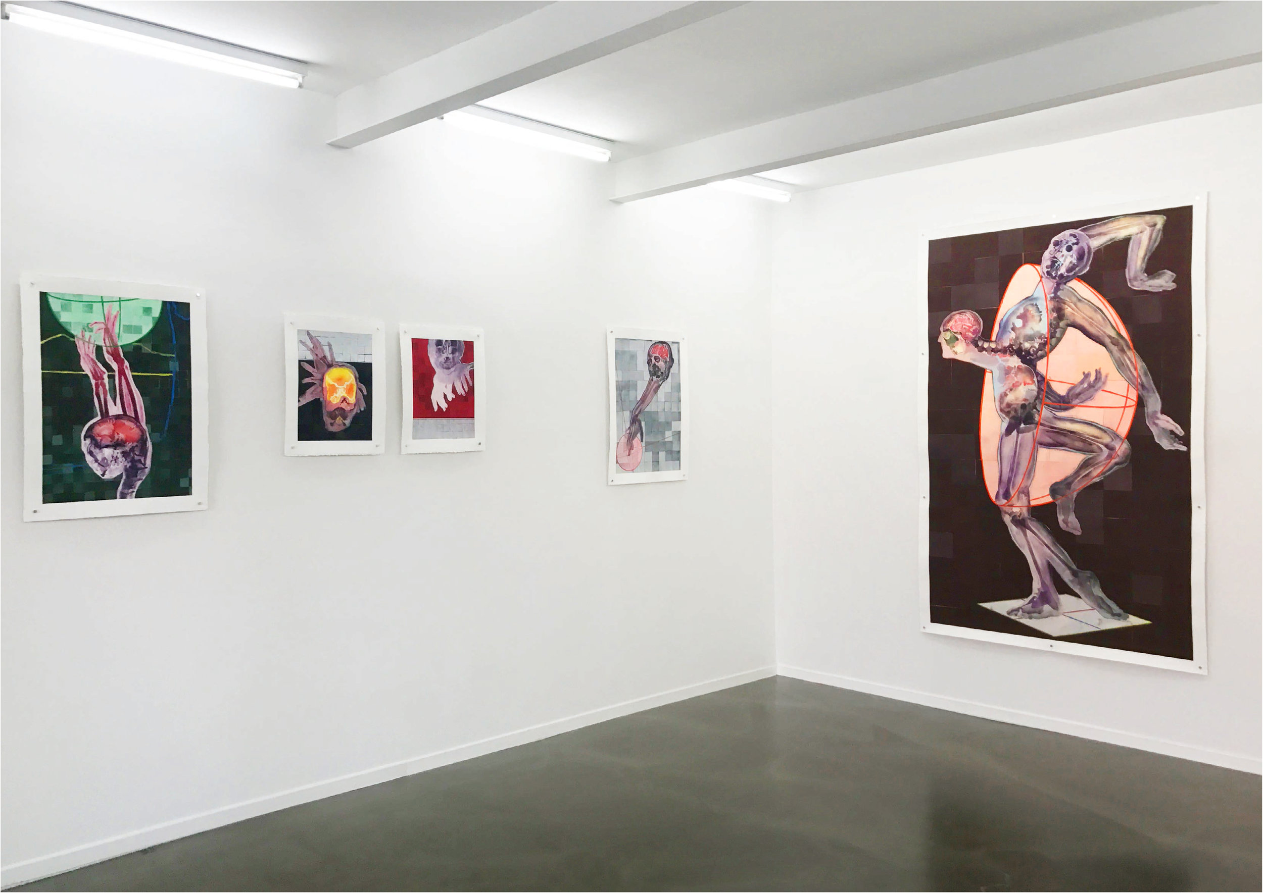 BIO CARRIER, CREATIONAL REPRESENTATION, IMMACULATE OBSERVER, RECOMBINED GYNOID, (r) THE ABIOGENETIC BEINGS HALF DEATH, 2017; Exhibition view, Galerie Kai Erdmann