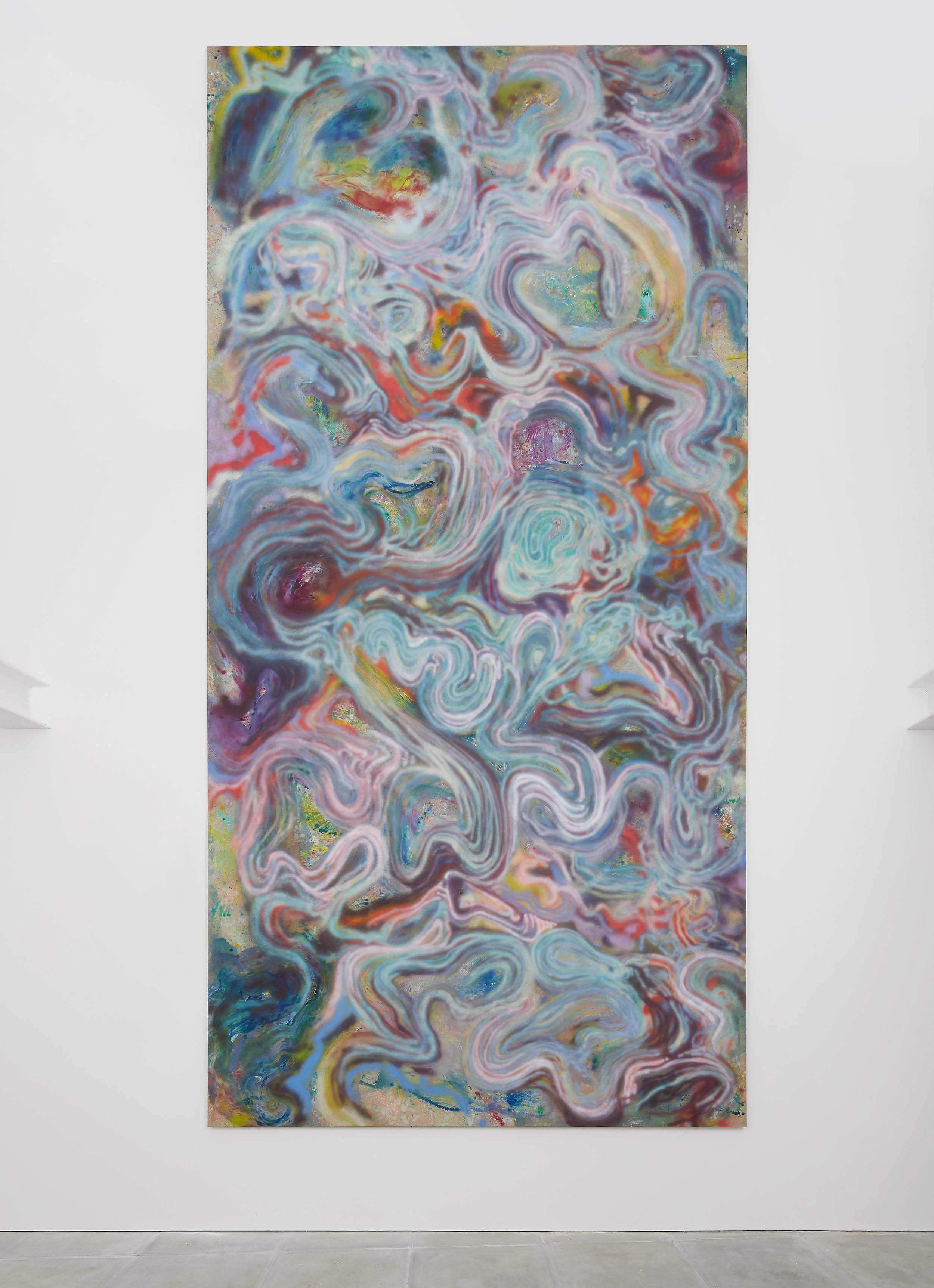 """""""Always the impossible as stupid as reality.""""  500 x 250 cm. Oil and airbrush on raw-linen. 2018"""