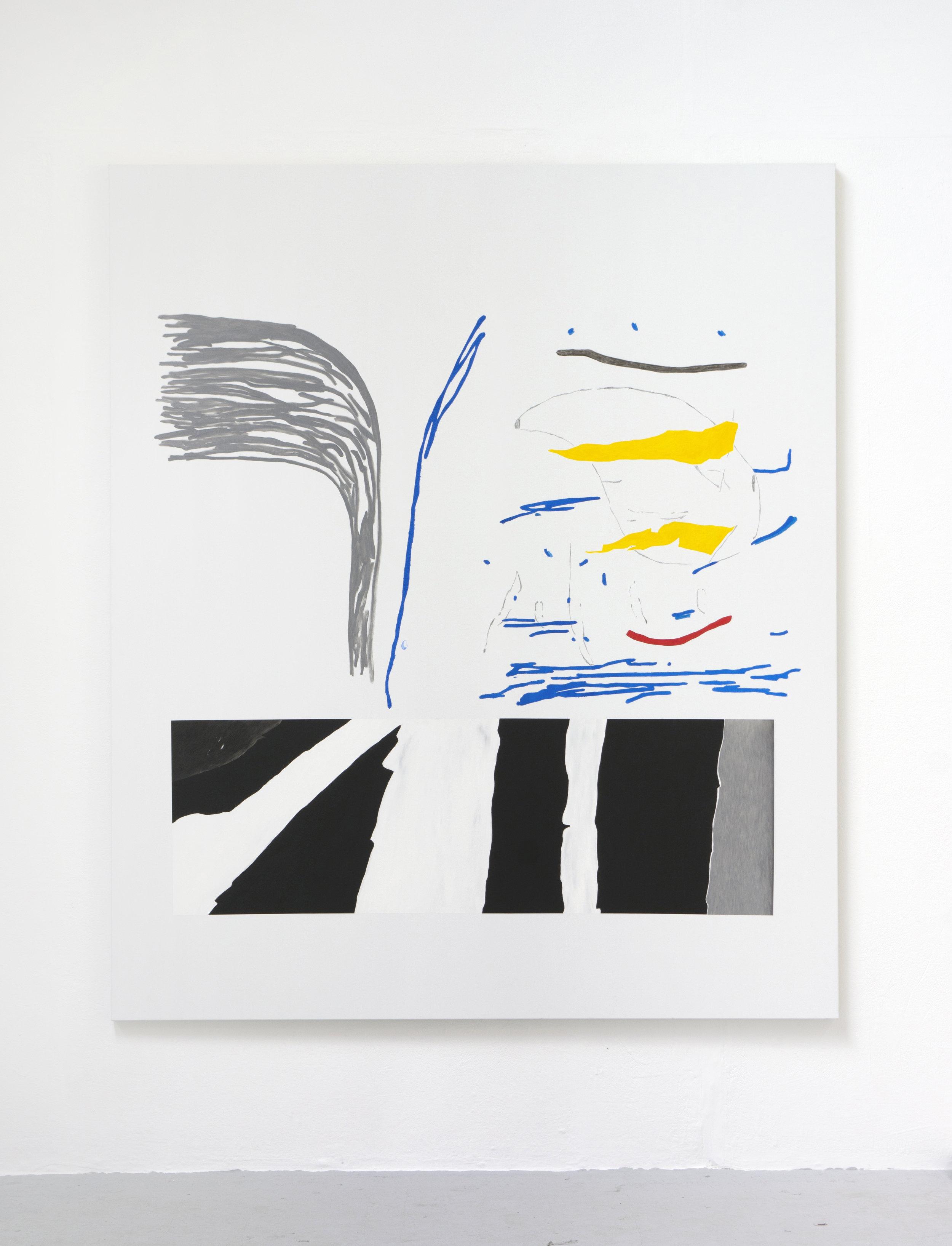 'Hybrid #1' - Acrylic, alkyd, graphite and pencil on canvas - 200 x 157 cm - 2018