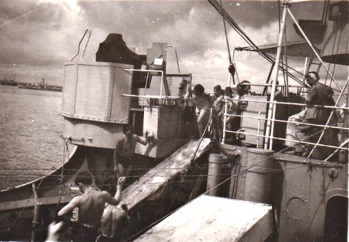 HMS Bulolo entertain Dutch children with water slide