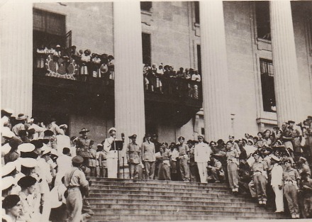Lord Louis Mountbatten on the steps of the Municipal Builings, Singapore, after Japanese surrender ceremony