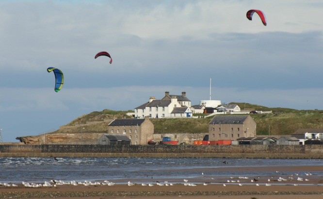 Kite surfing at Burghead, Moray Firth