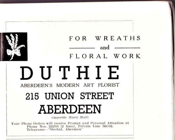 Aberdeen and tourism. 1950 advertisement in city guide.