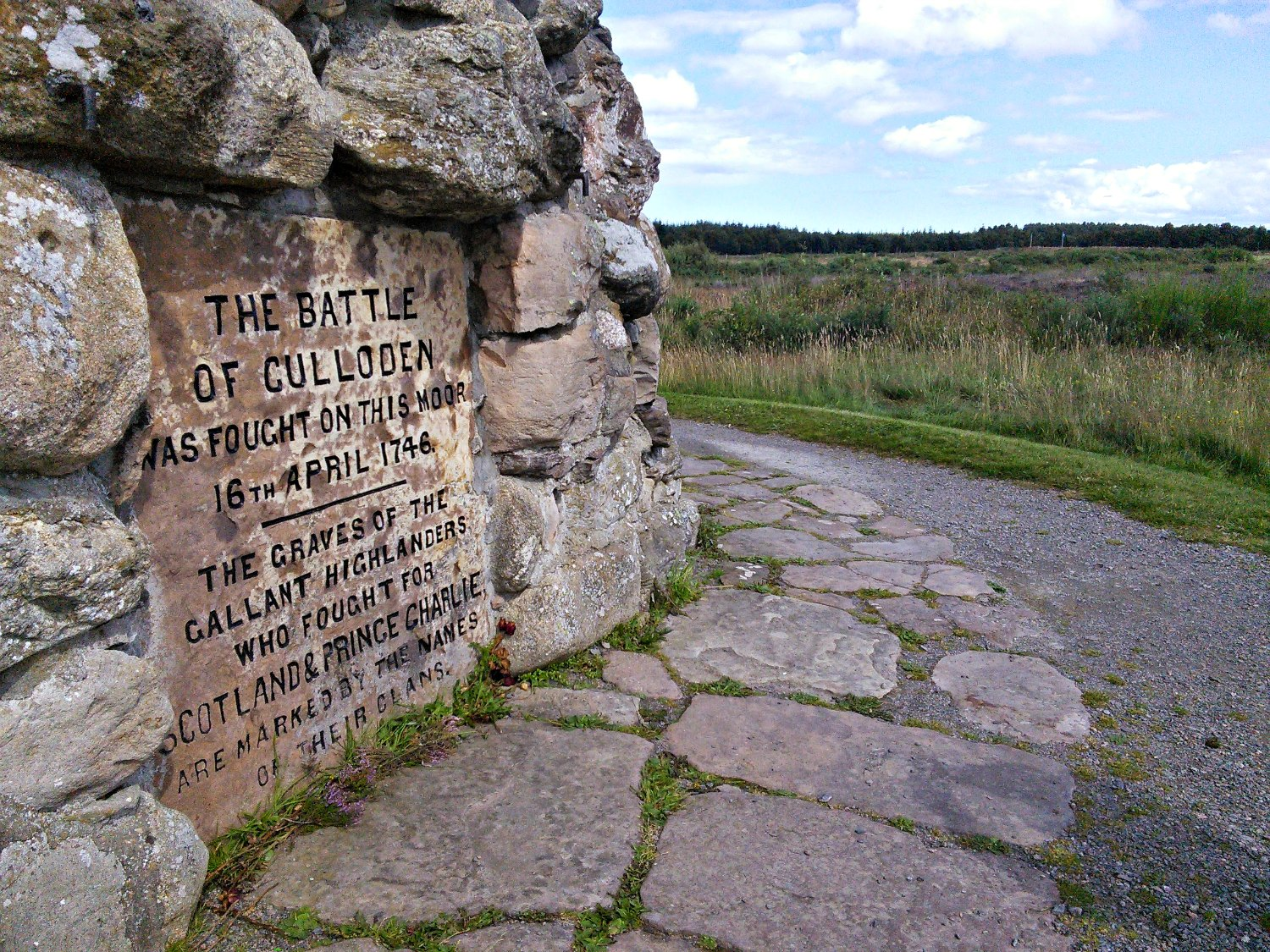 The Memorial Cairn on the battlefield of Culloden. It was erected in 1881 by Duncan Forbes of Culloden in memory of the fallen Jacobites.