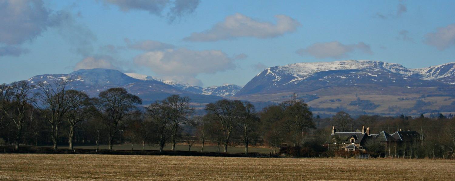 Looking north over the Highland Boundary Fault towards Glen Turret and Ben Chonzie, Perthshire.