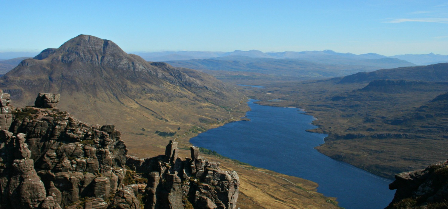 Looking towards Cul Beag from the summit of Stac Pollaidh. North West Highlands of Scotland
