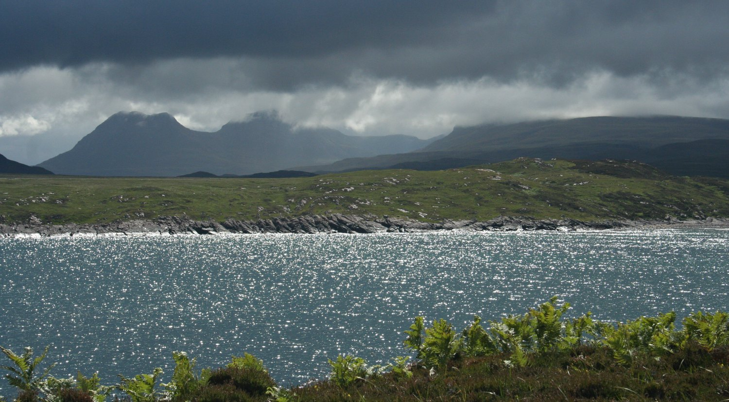 Looking across Achnahaird Bay to the Inverpolly peaks, with cloud off the Atlantic