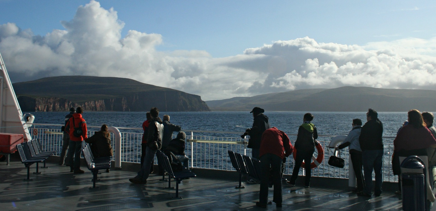 Stromness ferry (from Scrabster) passing Rackwick Bay on Hoy (centre)