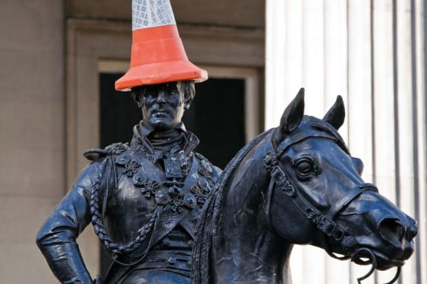 Duke of Wellington with traffic cone.