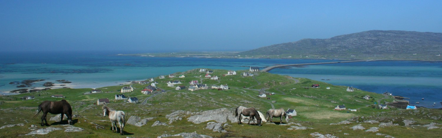 Eriskay with Casuseway to South Uist and also Eriskay ponies