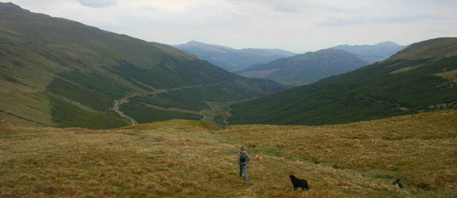 Kirkton Glen, looking back down to the main glen at Balquhidder.