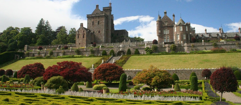 Drummond Castle, near Crieff. Visit for the gardens.