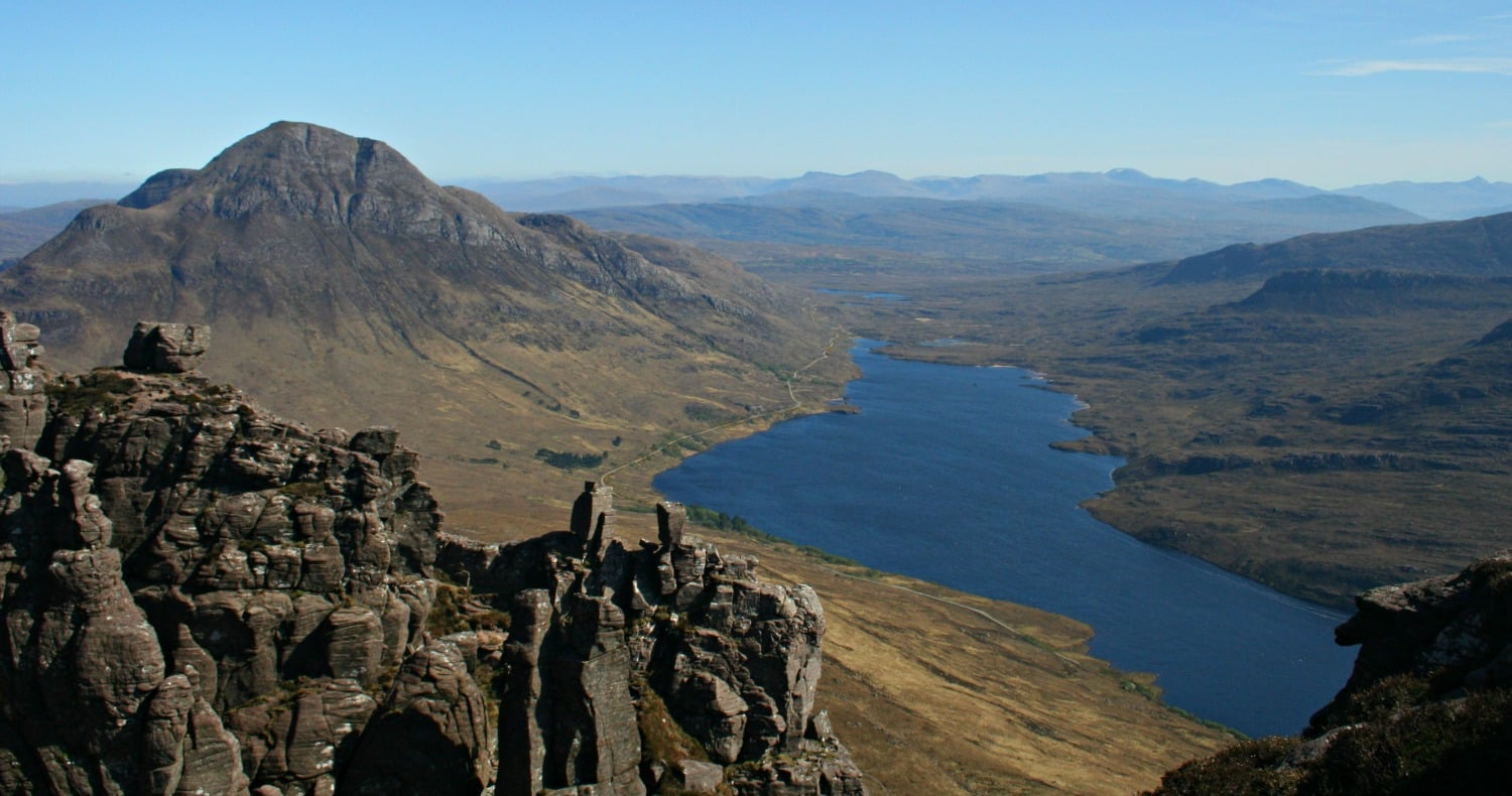 Cul Beag and Loch Lurgainn from the top of Stac Polly.