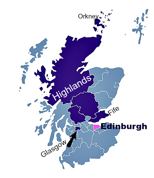 Map showing relative position of Edinburgh to the rest of Scotland. 'Highlands' here, refers to the adminstrative area and not the 'geological Highlands' which certainly include a big chunk of Perthshire, the area in the centre and adjacent to Fife in this illustration.