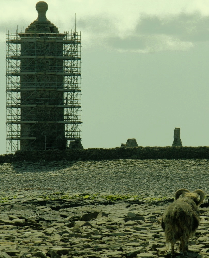North Ronaldsay – the first lighthouse. Undergoing restoration in 2012.