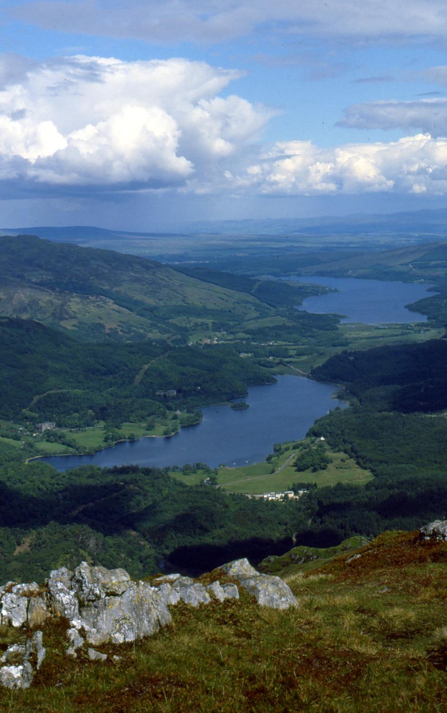 Lochs Achray and (distant) Venachar from summit of Ben Venue, Trossachs - Scotland tourism heartlands.