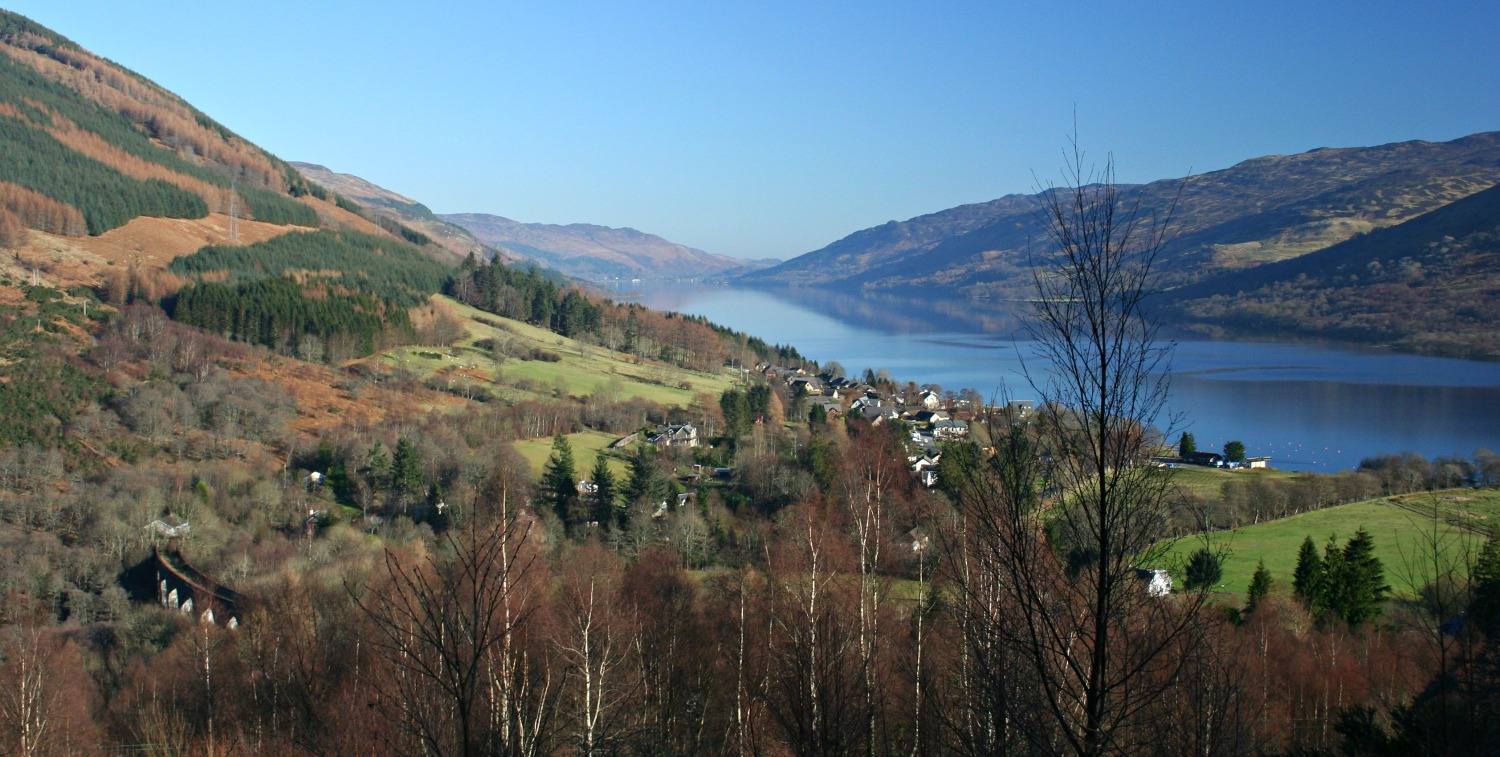 Looking east down Loch Earn, over Lochearnhead, from the old railway