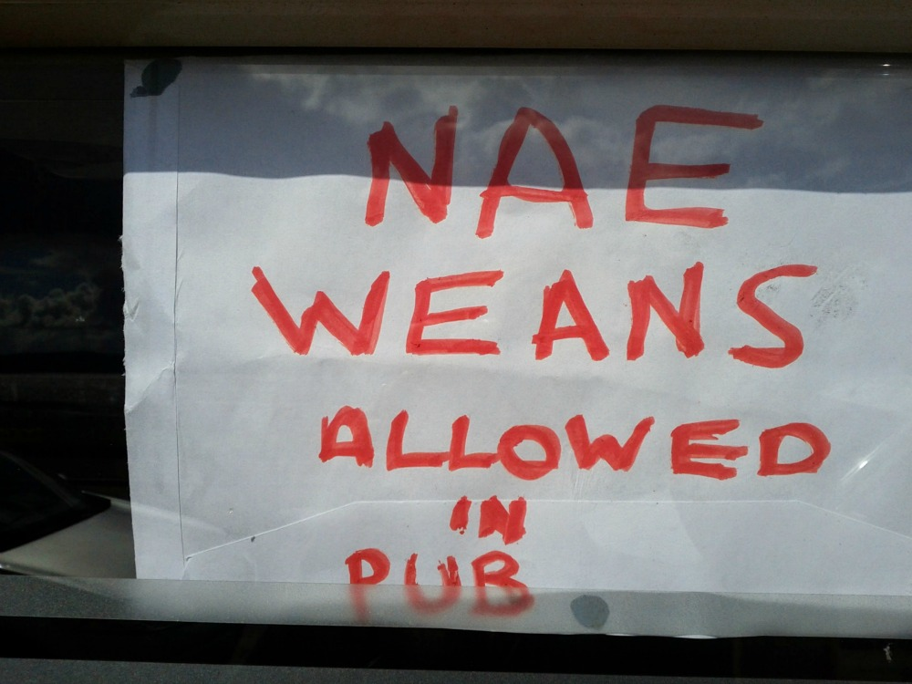 Your children are not welcome in this pub.