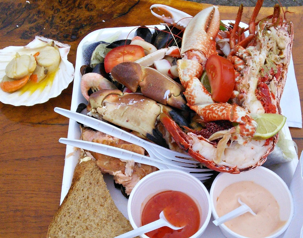 Buy yourself a seafood platter on the quayside at Oban, before catching the ferry to  Mull .