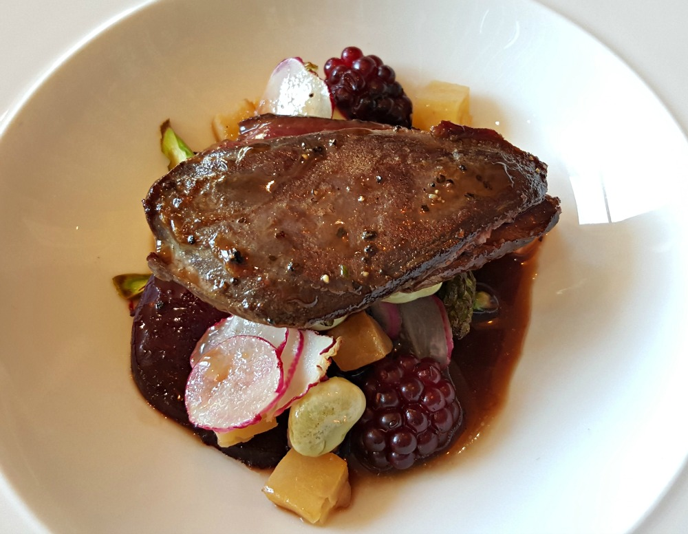 A Scottish pigeon breast - fine dining-style.