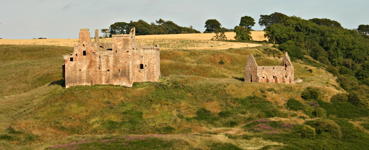 Crichton Castle in Midlothian. Haunted stables on the right.