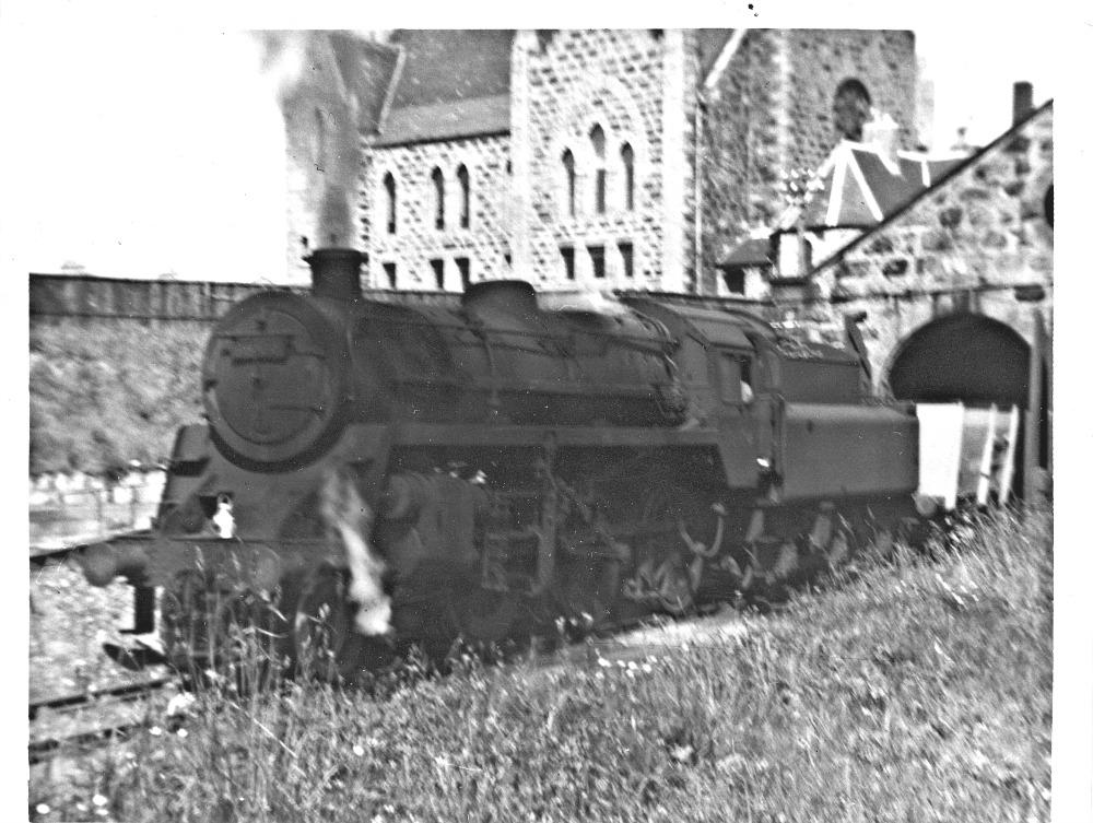 Standard 2-6-0 at Fraserburgh engine shed.