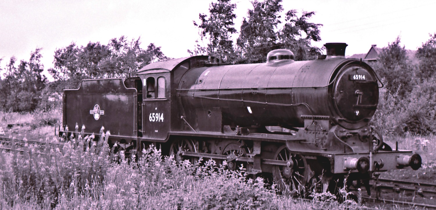 J38 at Inverurie Loco Works, autumn 1965, almost in the last days of Scottish steam.
